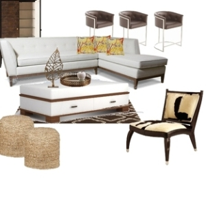 Earth tones used with modern furnishings.