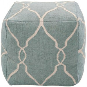 This transitional pouf can be used in either a casual or formal room.
