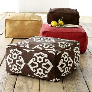 Rectangular poufs in many different colors for great casual seating.