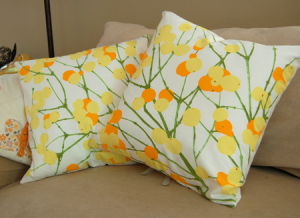 Put a smile on your face with a cheerful look created with pillows.