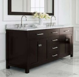 Bathroom vanity with Carrera marble top and mirror