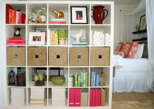A double sided bookcase can be great storage and defines a space.