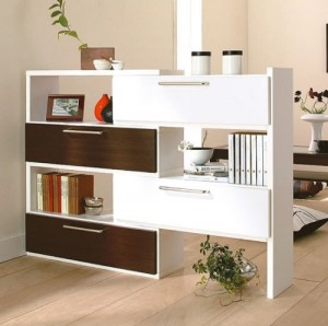 Break up an office with double sides bookcase/drawers.