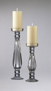Clear glass candleholders