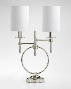 Silver and white modern table lamp