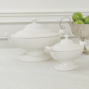 Traditional white tureens