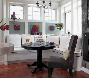 Breakfast nook with storage and design.