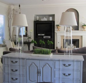 Buffet height cylinder glass lamps