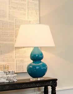 Blue ceramic gourd lamp.