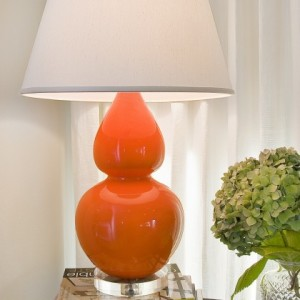 Orange ceramic gourd lamp