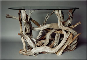 Driftwood console table, perfect for hallways, entries and behind sofas.