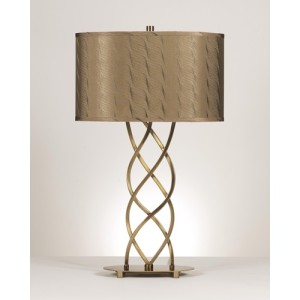 Modern twisted metal lamp.