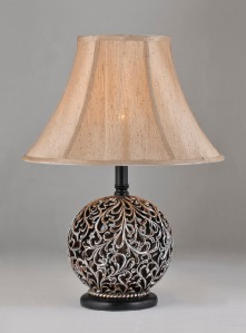 Traditional metal scroll lamp.