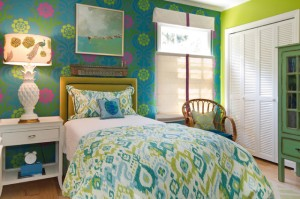 Colorful guest bedroom
