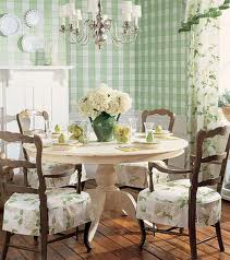 English garden country with the traditional table and chairs mixed with floral designs and plaid wallpaper.