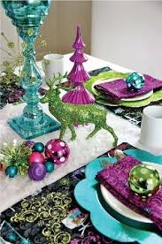 Have fun! Use all the different ornaments with tons of color for a whimsical tablescape.