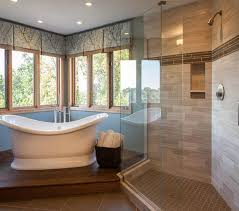 A free-standing tub in a window nook is great for relaxing and looking out at nature.