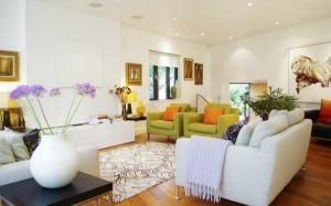 A great conversational area created with pops of bright colors.