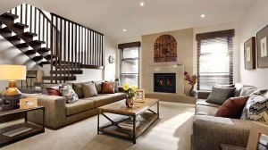 A transitional living room, warm and cozy inviting the occupants to converse.
